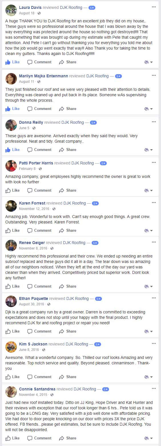 DJK Roofing Reviews on Facebook
