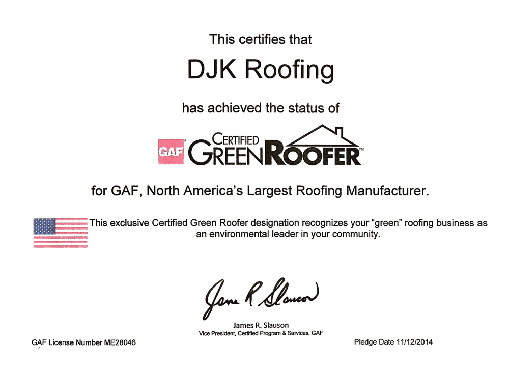 Certifications - Roofing Contractor in South Jersey - DJK Roofing