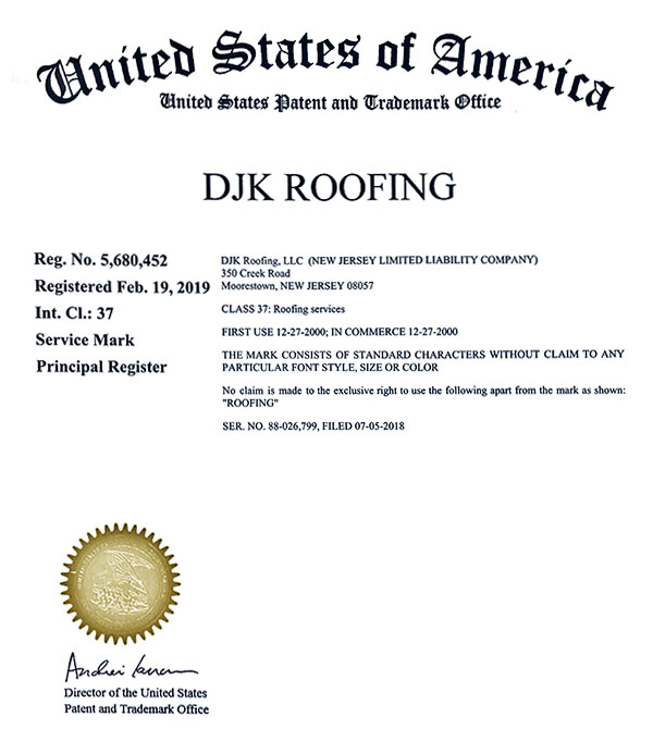 DJK Roofing Trademark Certification