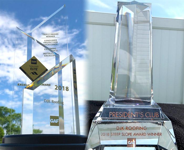 DJK Roofing GAF MasterElite and President's Club Awards